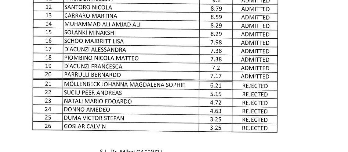 studenti ammessi odontoiatria timisoara 2017 2018